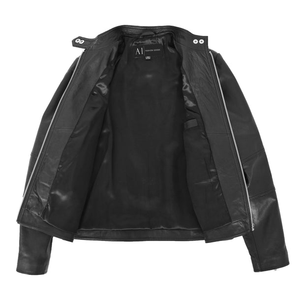 Womens Soft Black Leather Biker Jacket Designer Stylish Fitted Quilted Celeste Lining