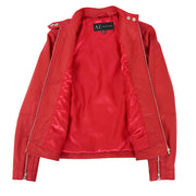 Womens Soft Red Leather Biker Jacket Designer Stylish Fitted Quilted Celeste Lining