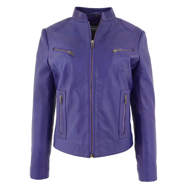 Womens Fitted Leather Biker Jacket Casual Zip Up Coat Jenny Purple