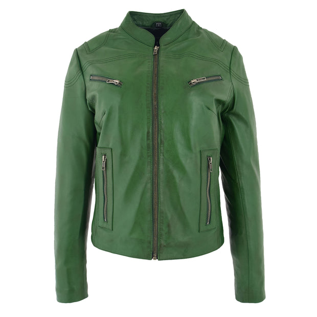Womens Fitted Leather Biker Jacket Casual Zip Up Coat Jenny Green