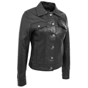 Womens Real Leather Jacket Fitted Denim Biker Style Coat Marisa Black Front 2