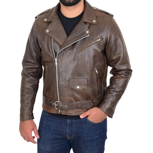 Mens Genuine Cowhide Biker Jacket Heavy Duty Antique Brown Leather Coat Rock