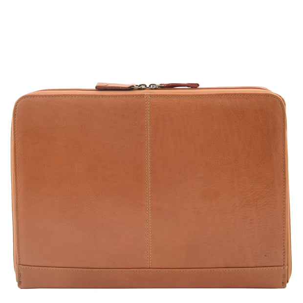 Real Tan Leather Folio Case A4 Document Underarm Conference Bag Ben Back