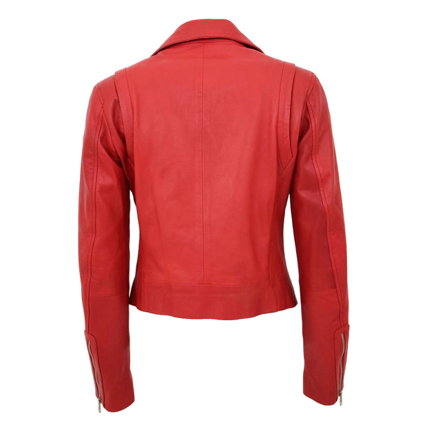 Womens Soft Genuine Leather Biker Jacket Slim Fit Coat Julie Red Back