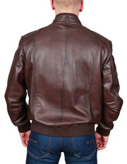 Mens Bomber Soft Leather Jacket Zip Fasten Ryan Brown back view