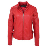 Womens Soft Red Leather Biker Jacket Designer Stylish Fitted Quilted Celeste Open Neck