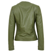 Women Collarless Olive Green Leather Jacket Fitted Quilted Zip Up - Remi Back