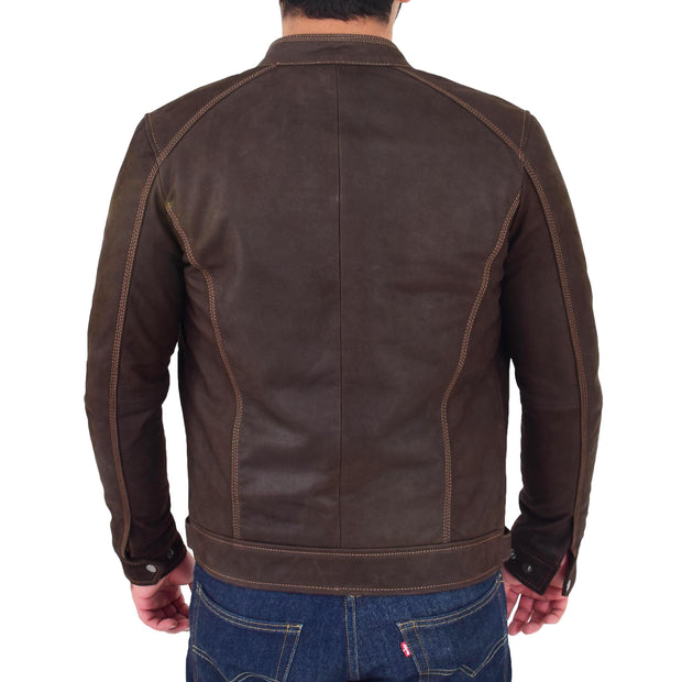 Mens Brown Waxed Skipper Real Leather Biker Style Jacket Captain Back
