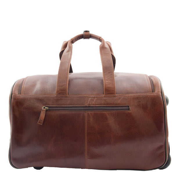 Wheeled Brown Leather Holdall Telescopic Handle Travel Duffle Ozwald Back