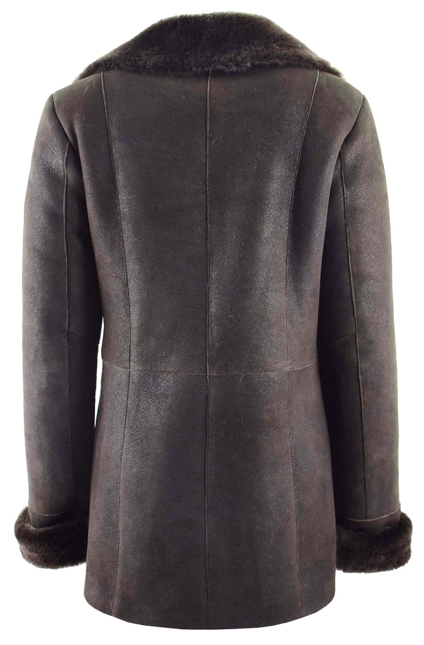 Womens Real Sheepskin Brown Jacket Classic 3/4 Mac Merino Shearling Trench Zona-1