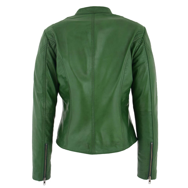 Womens Fitted Leather Biker Jacket Casual Zip Up Coat Jenny Green Back