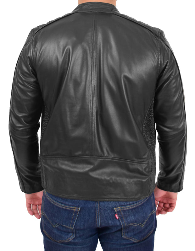 Mens Trendy Slim Fit Leather Biker Jacket Colt Black 1