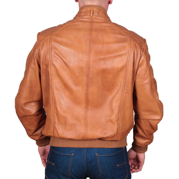 Mens Bomber Soft Leather Jacket Zip Fasten Ryan Tan back
