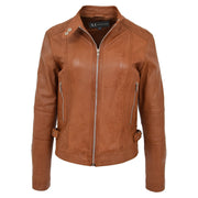 Womens Soft Tan Leather Biker Jacket Designer Stylish Fitted Quilted Celeste Neck Open