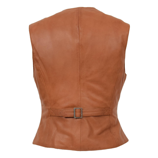 Womens Soft Leather Waistcoat Slim Fit Vest Classic Gilet Katy Tan Back