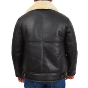 Mens Original Sheepskin Flying Jacket B3 Bomber Aviator Pilots Shearling Coat Raptor Brown/White Back
