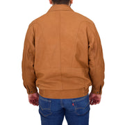 Mens Soft Real Buff Leather Blouson Jacket Classic Bomber Coat Peter Tan Back