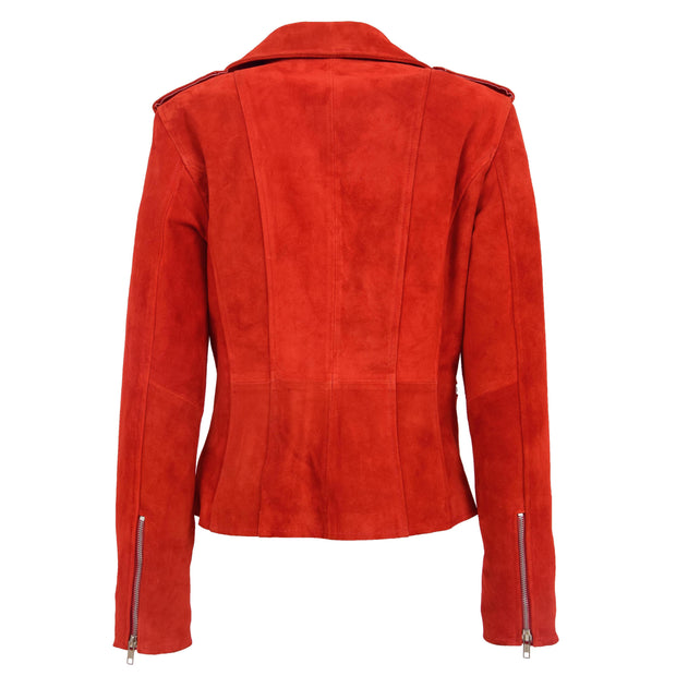 Womens Genuine X-Zip Fitted Biker Red Suede Leather Jacket Rusty 1