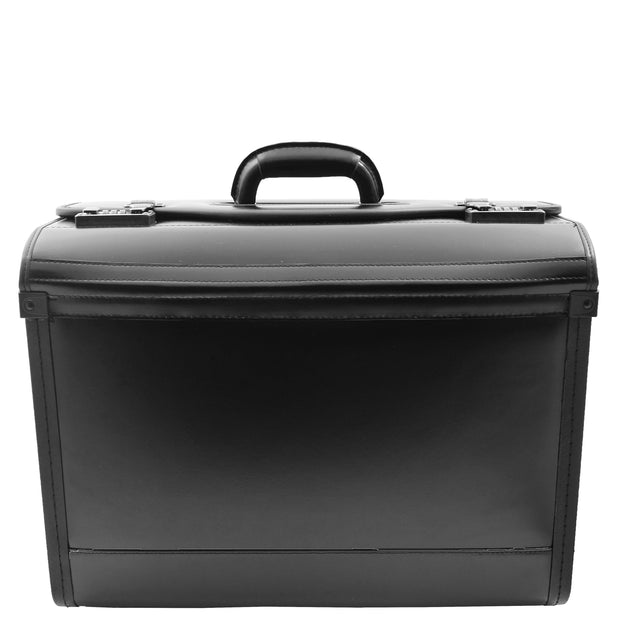 Black Leather Pilot Case Large Briefcase Professionals Hand Carry Bag 1