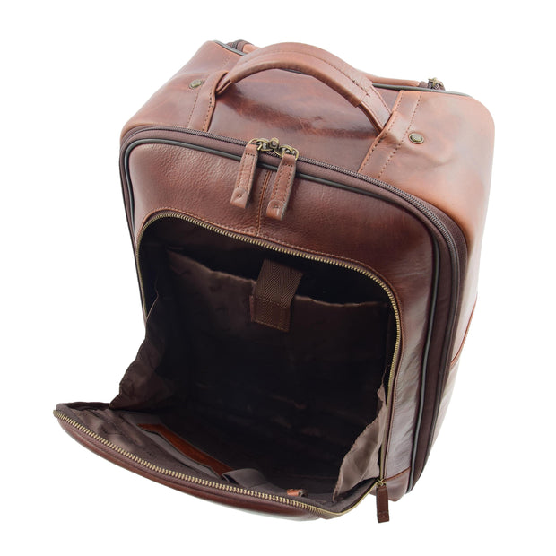 Wheeled Cabin Suitcase Real Brown Leather Luggage Travel Bag Carlos Front Open