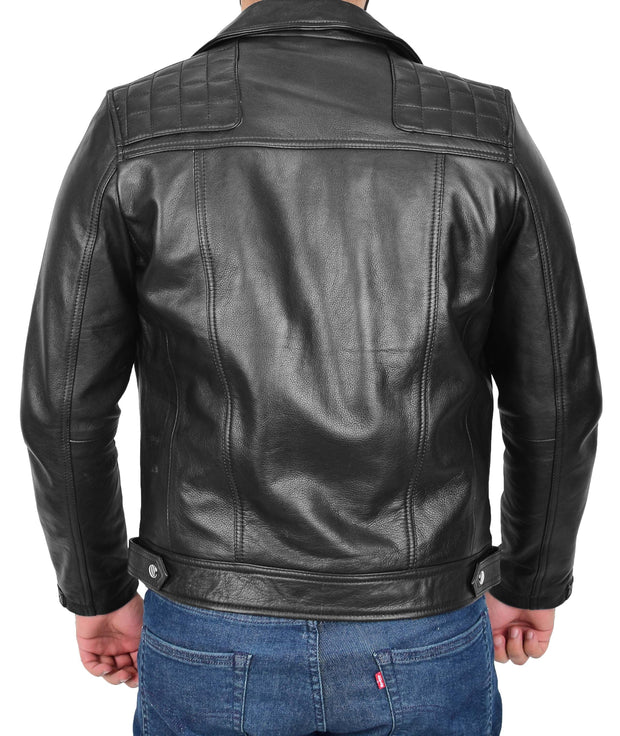 Men Genuine Black Cowhide Biker Leather Jacket Trendy Cafe Racer Brando Cruz 1