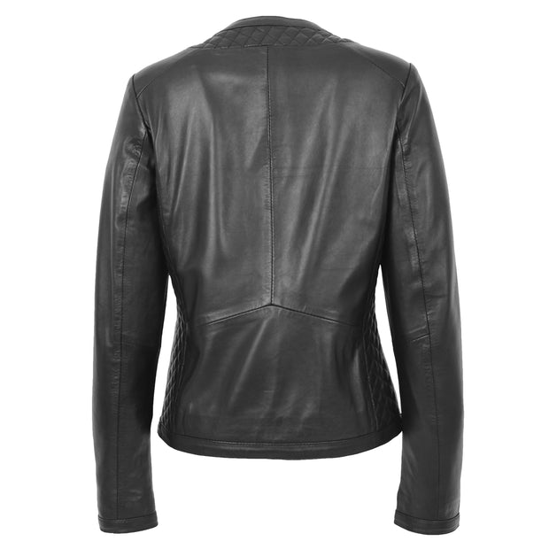 Women Collarless Black Leather Jacket Fitted Quilted Zip Up - Remi Back
