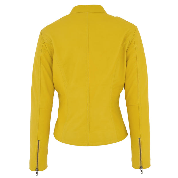 Womens Fitted Leather Biker Jacket Casual Zip Up Coat Jenny Yellow Back