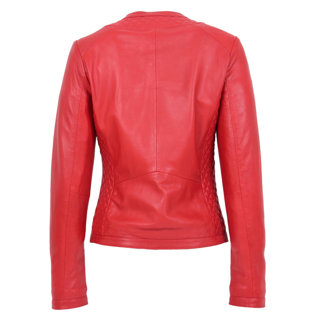 Women Collarless Red Leather Jacket Fitted Quilted Zip Up - Remi Back