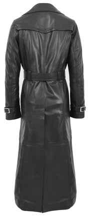 Womens Full Length Long Black Leather Trench Coat Trinity 1