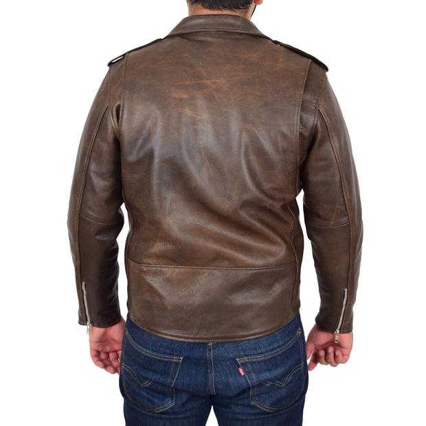 Mens Genuine Cowhide Biker Jacket Heavy Duty Antique Brown Leather Coat Rock Back