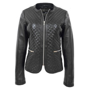 Women Collarless Black Leather Jacket Fitted Quilted Zip Up - Remi Front