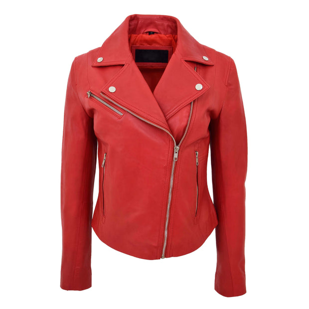 Womens Soft Genuine Leather Biker Jacket Slim Fit Coat Julie Red Front 1