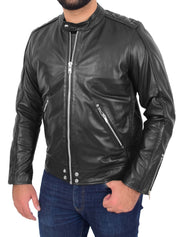Mens Trendy Slim Fit Leather Biker Jacket Colt Black 2
