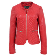 Women Collarless Red Leather Jacket Fitted Quilted Zip Up - Remi Front