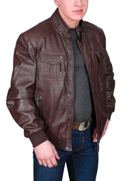 Mens Bomber Soft Leather Jacket Zip Fasten Ryan Brown open zip view