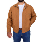 Mens Soft Real Buff Leather Blouson Jacket Classic Bomber Coat Peter Tan Open