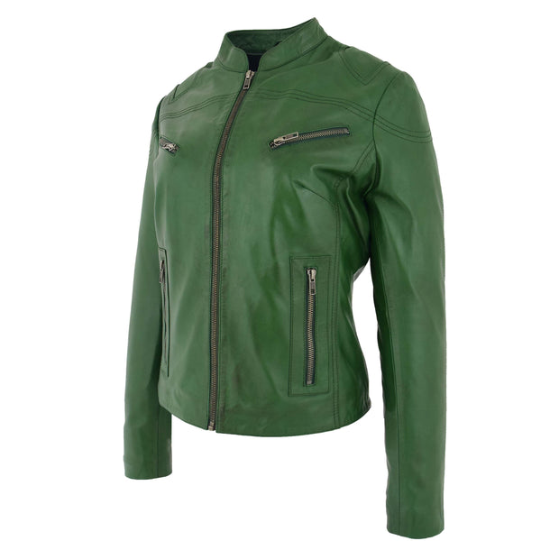 Womens Fitted Leather Biker Jacket Casual Zip Up Coat Jenny Green 1