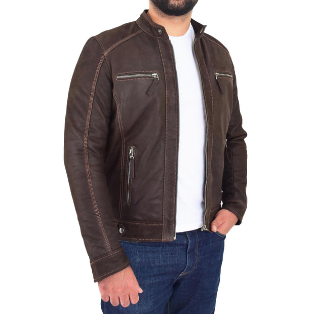 Mens Brown Waxed Skipper Real Leather Biker Style Jacket Captain Open 1