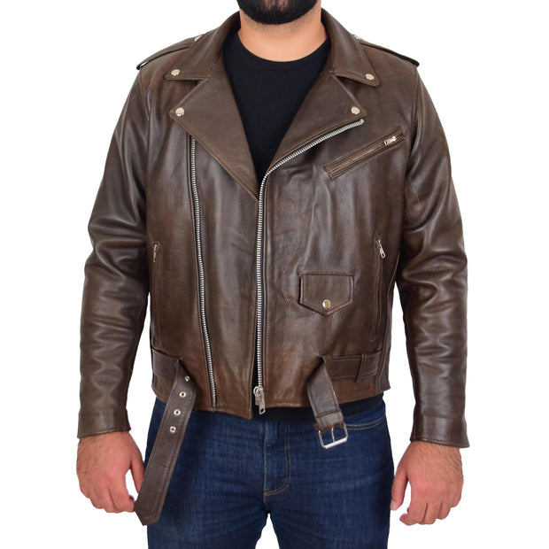 Mens Genuine Cowhide Biker Jacket Heavy Duty Antique Brown Leather Coat Rock Open 1