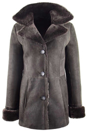 Womens Real Sheepskin Brown Jacket Classic 3/4 Mac Merino Shearling Trench Zona-2
