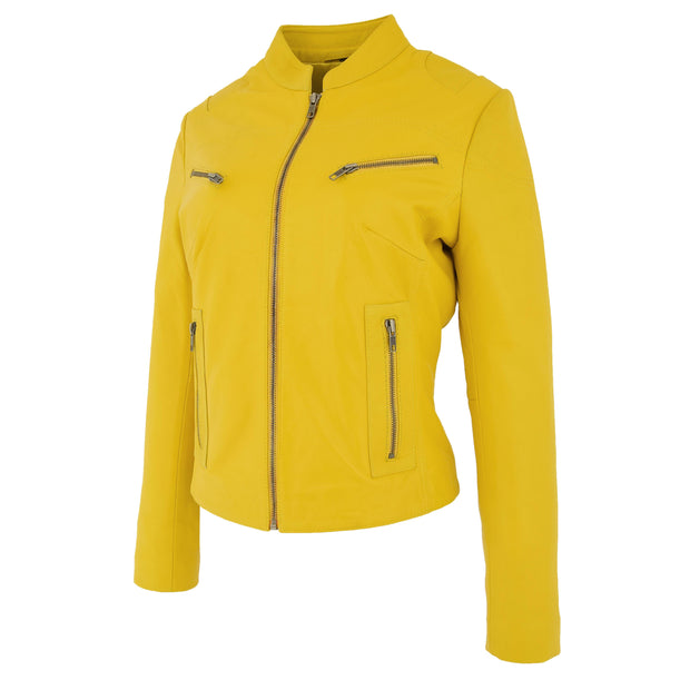 Womens Fitted Leather Biker Jacket Casual Zip Up Coat Jenny Yellow 1