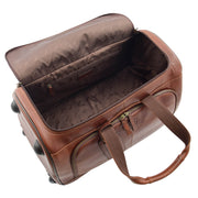 Wheeled Brown Leather Holdall Telescopic Handle Travel Duffle Ozwald Open
