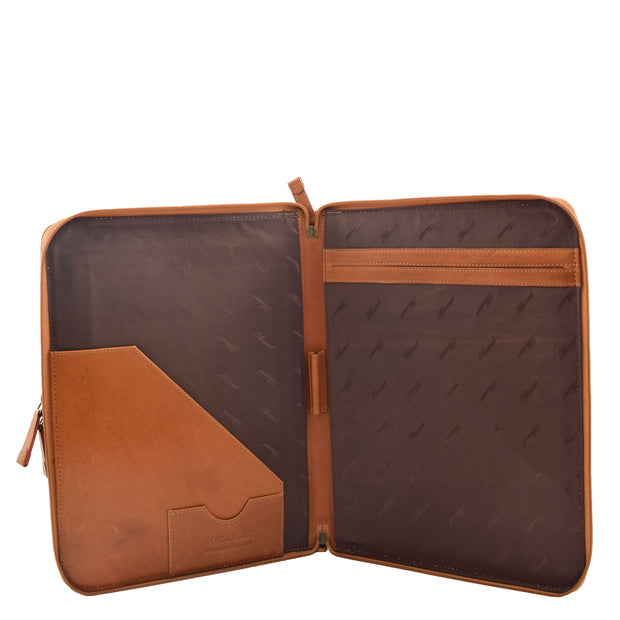 Real Tan Leather Folio Case A4 Document Underarm Conference Bag Ben Open 1
