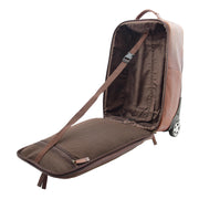 Wheeled Cabin Suitcase Real Brown Leather Luggage Travel Bag Carlos Open