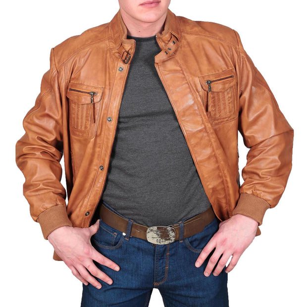 Mens Bomber Soft Leather Jacket Zip Fasten Ryan Tan zip open