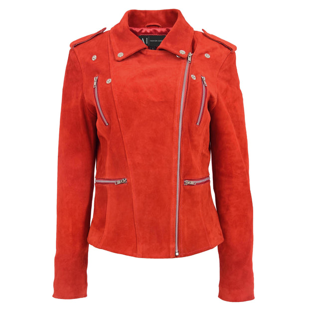 Womens Genuine X-Zip Fitted Biker Red Suede Leather Jacket Rusty 2