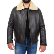 Mens Original Sheepskin Flying Jacket B3 Bomber Aviator Pilots Shearling Coat Raptor Brown/White Front Open 1