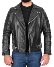 Men Genuine Black Cowhide Biker Leather Jacket Trendy Cafe Racer Brando Cruz 2
