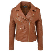 Womens Short Fitted Cognac Biker Style Real Leather Jacket Ayla Front 1