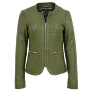 Women Collarless Olive Green Leather Jacket Fitted Quilted Zip Up - Remi Front